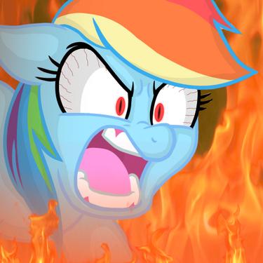 angry, fire, rage, rainbow dash