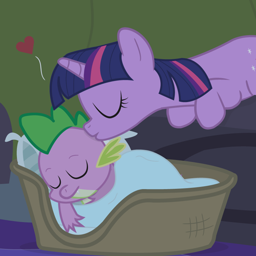 kiss, sleep, spike, twilight sparkle